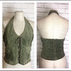 Green leather halter crop top. Wilson Leather. XL